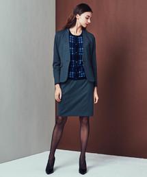 m.f.editorial(エムエフエディトリアル)のエムエフエディトリアルレディース/m.f.editorial:Women  ストレッチウォッシャブル ポンチノーカラーネイビージャケット+スカート ビジネスセットアップスーツ(セットアップ)