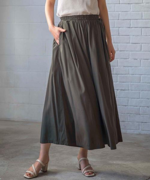 GeeRA(ジーラ)の「【WEB限定】合繊素材スカーチョ(パンツ)」|カーキ
