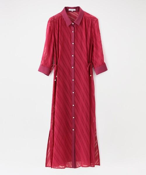 LOVELESS(ラブレス)の「はっ水シアーシャツドレス(シャツワンピース)」|ピンク