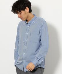 NM ストライプハイゲージ ボタンダウン シャツ �U ◆