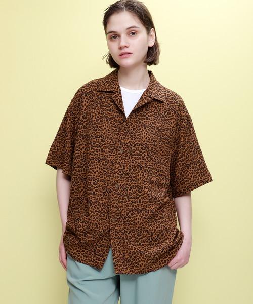 レオパード柄オープンカラー半袖シャツ