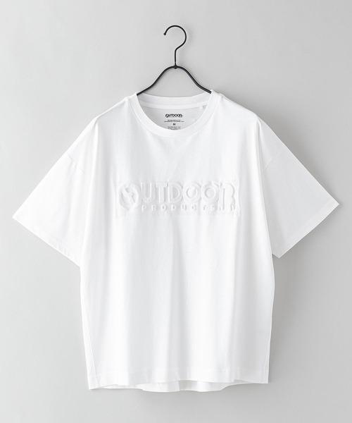 エンボスブランドロゴTシャツ 同色プリント