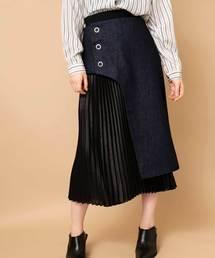 OSMOSIS(オズモーシス)のデニム×サテンレイヤードスカート(スカート)