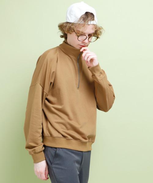裏毛ハーフジップワイドプルーオーバー L/S cotton 100%