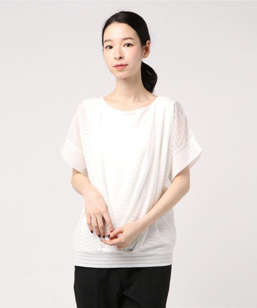 エムエフエディトリアルレディース/m.f.editorial:Women シャドーボーダーたけのこタッククルーネックプルオーバー半袖Tシャツ