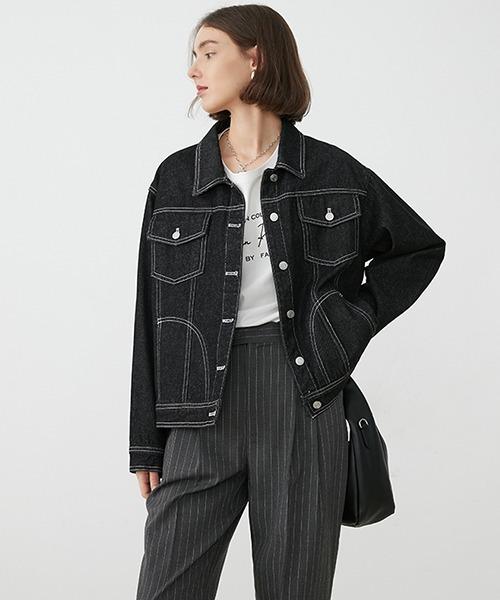 【Fano Studios】【2021SS】White stitch denim jacket FQ20W090