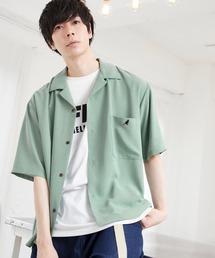 ▽WEB限定 KANGOL/カンゴール 別注 リラックスオープンカラーシャツ(1/2スリーブ) 2020ライトグリーン