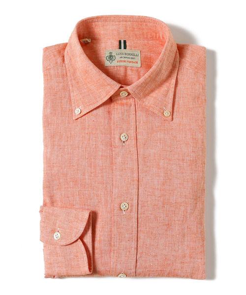 LUIGI BORRELLI / 別注 コットンリネン ワイドボタンダウンシャツ