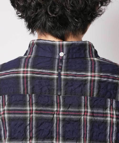 コットン/テンセル シャーリングチェック ボタンダウンシャツ