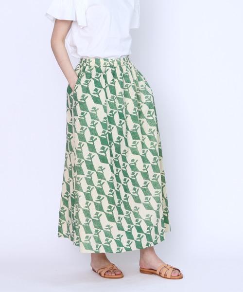 【BARNDOOR/バーンドア】総柄プリントギャザースカート 1142078G BUR