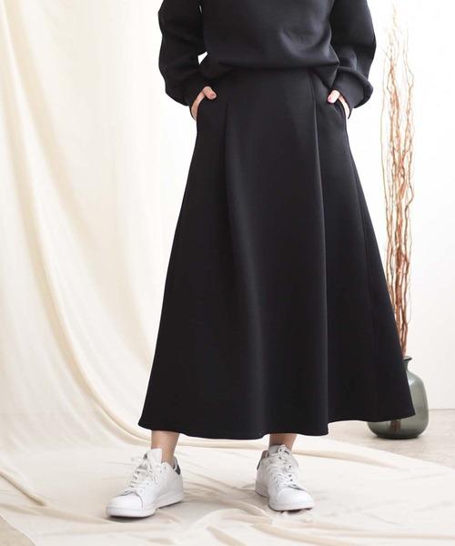 LHELBIE(レルビエ)の「【Made in Japan】【軽量素材】 エアーダンボールニットスカート(スカート)」|ブラック