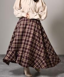 裾フリルチェックフレアスカートバーガンディー