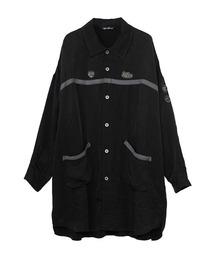 MINIアップリケ オーバーサイズシャツワンピースブラック