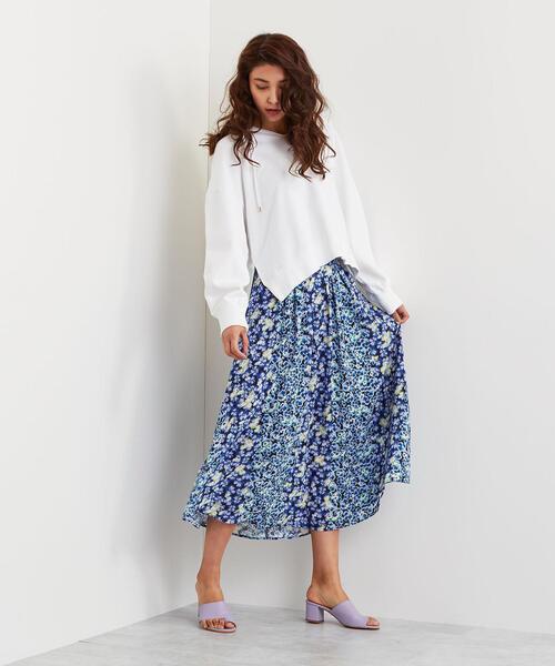 【EMMEL REFINES】SMF ブロッキングフラワーープリント スカート