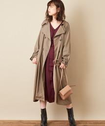 natural couture(ナチュラルクチュール)のねじり袖サテンギャザーワンピース(ワンピース)