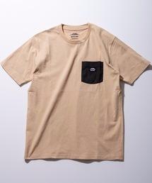 防蚊加工 ポケットTシャツ ワンポイントブランドロゴベージュ