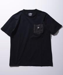 防蚊加工 ポケットTシャツ ワンポイントブランドロゴブラック