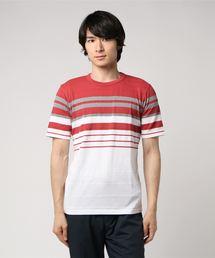 CM クレープボーダー クルーネック Tシャツ �U ◆