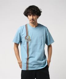 GUITAR AND FLOWER pt Tシャツブルー