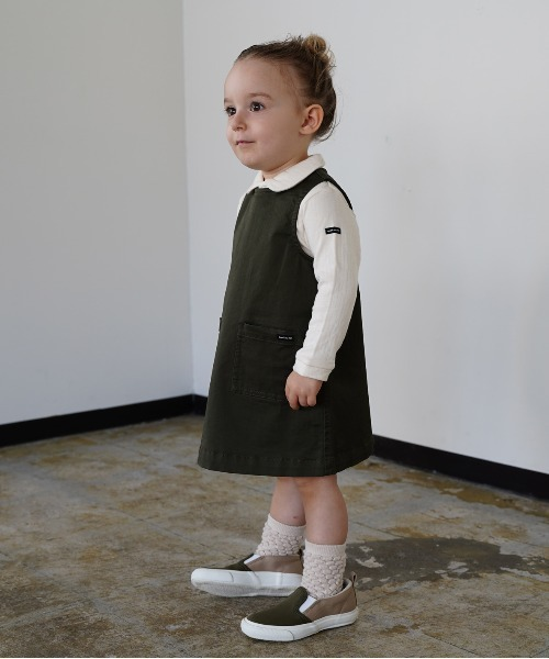 ストレッチツイルひざ丈ジャンパースカート