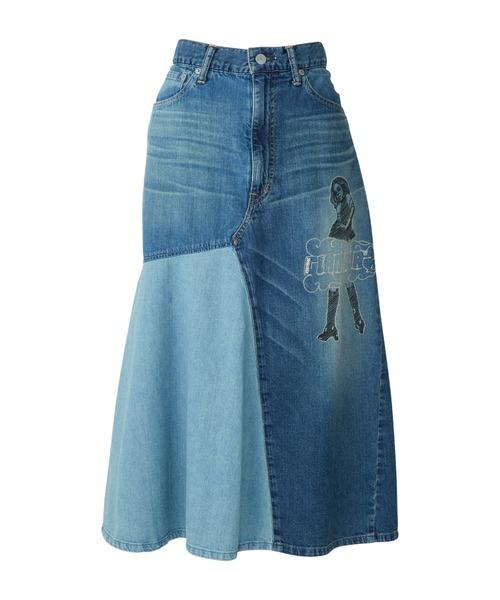 VIXEN GIRL刺繍 スクラッチデニムスカート
