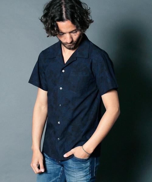 CTN/LI BOTANICAL OPEN COLLAR SHIRTS S/S:コットン/リネン ボタニカルオープンカラーシャツ ショートスリーブ