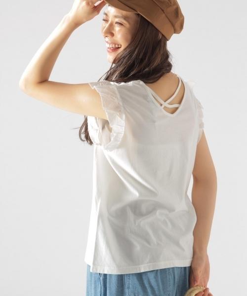 BAYFLOW(ベイフロー)の「BAYFLOW/バッククロスノースリーブプルオーバー 18SS(Tシャツ/カットソー)」|オフホワイト