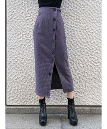 MURUA(ムルーア)のボタンペンシルスカート(チェックペンシルスカート)(スカート)