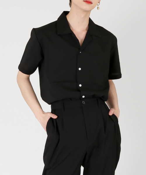 DING(ディング)の「DING/オープンカラー半袖シャツ(シャツ/ブラウス)」|ブラック