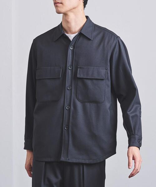<UNITED ARROWS> ポリエステル/ウール カルゼ ルーズCPOシャツ