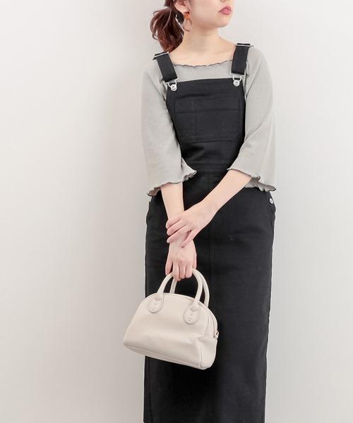 natural couture(ナチュラルクチュール)の「大人ジャンバースカート(ジャンパースカート)」|ブラック