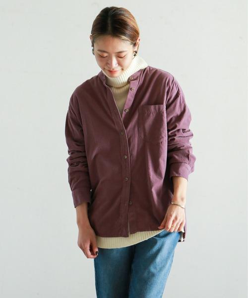 NOMBRE IMPAIR(ノンブルアンペール)の「マイクロコール バンドカラーシャツ(シャツ/ブラウス)」|パープル