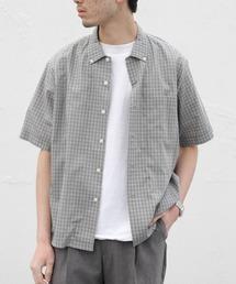 GYMPHLEX/ジムフレックス チェックシャツショートスリーブ T/C CHECK S/S J-3811グレー