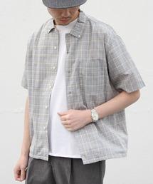 GYMPHLEX/ジムフレックス チェックシャツショートスリーブ T/C CHECK S/S J-3811ブルー