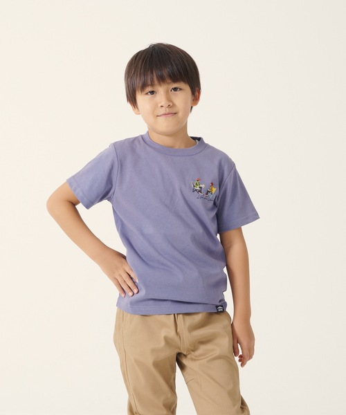 DRY加工(速乾機能) キッズ CAMPモチーフプリント/刺繍Tシャツ