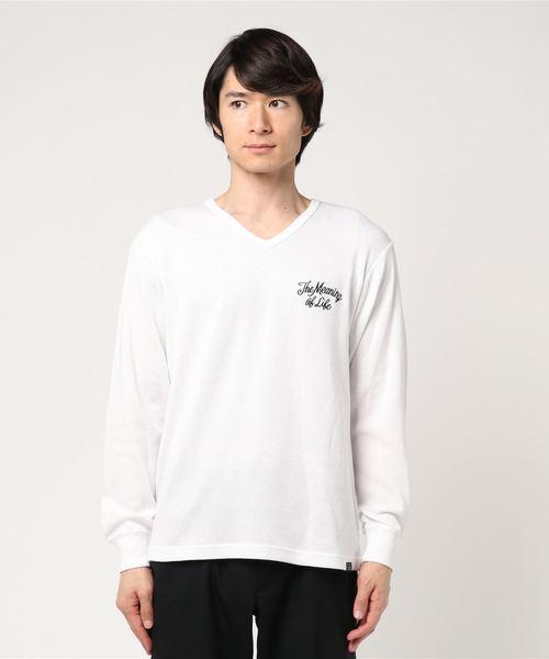 バック刺繍ハニカムメッシュVネック長袖PO