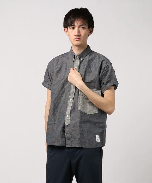 ボタンダウンシャツ/リネン×コットン