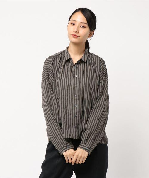 R&S ストライプギャザーシャツ