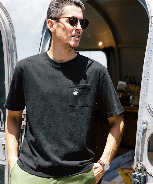 BEVERLY HILLS POLO CLUB/ビバリーヒルズポロクラブ ポケット付き 刺繍 クルーネック 半袖 Tシャツ