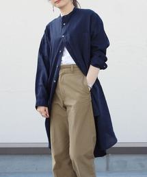 GYMPHLEX/ジムフレックス リネンクロスシャツワンピース LINEN CLOTH ONE PIECE J-1363KLSネイビー