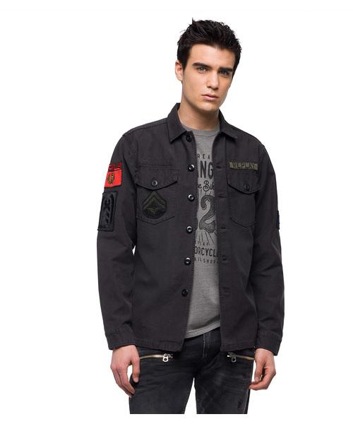 コットンサテン ミリタリーシャツジャケット