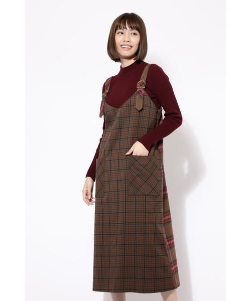 ROSE BUD(ローズバッド)の「(ROSE BUD)チェック柄ジャンパースカート(ジャンパースカート)」|ブラウン