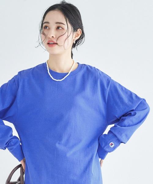 【Champion Authentic T-SHIRTS】チャンピオン スーパーオーバーサイズ コットン L/S Tシャツ ロンT/ロゴTシャツ/ビックシルエットカットソー