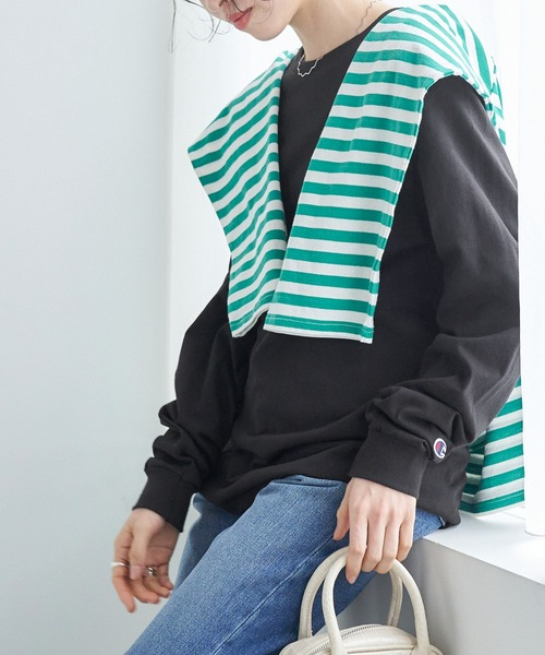【Champion Authentic T-SHIRTS】 レディース チャンピオン スーパーオーバーサイズ コットン L/S Tシャツ