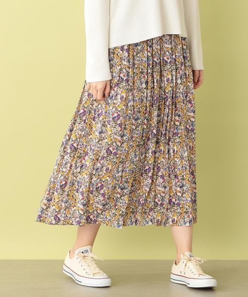 逆輸入 ボタニカルフラワープリントギャザースカート, ティッシュのお店 ふんわり eec32b2b