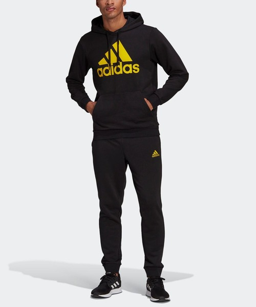 AEROREADY エッセンシャルズ カンガルーポケット ビッグロゴ トラックスーツ(ジャージセットアップ) [AEROREADY Essentials Kangaroo Pocket Big Logo Track Suit] アディダス