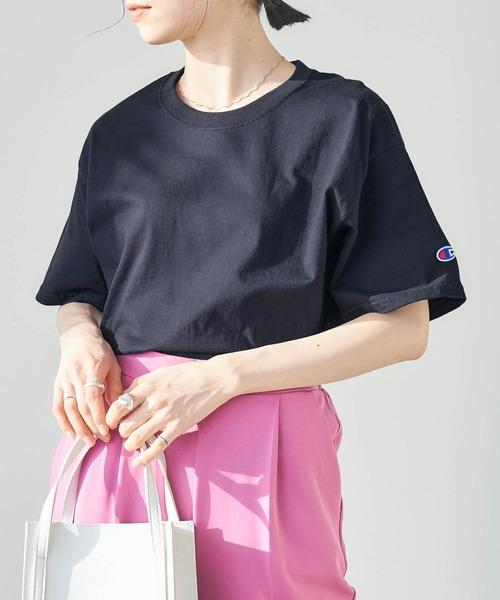 【Champion Authentic T-SHIRTS】レディース チャンピオン スーパーオーバー サイズ コットン 無地 半袖 Tシャツ