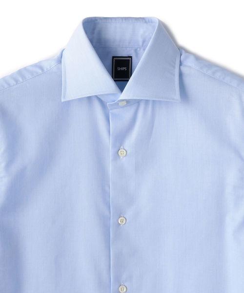 SD: ハイライン ファインフィット カラミ ワイドカラー シャツ(ライトブルー)