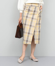 ROPE'(ロペ)の【洗える】チェックハイウエストタイトスカート(スカート)
