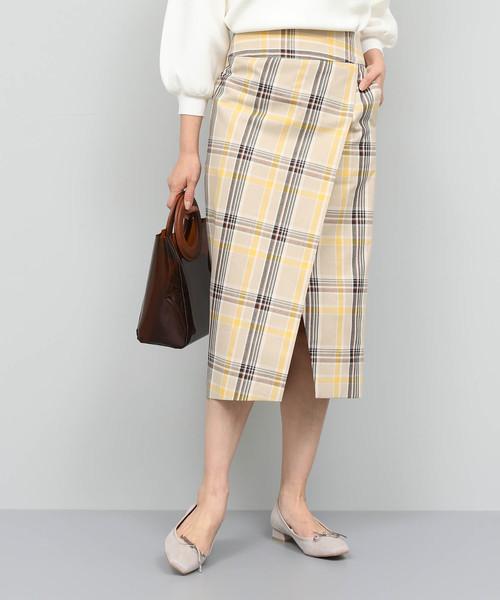 【返品不可】 【セール】【洗える】チェックハイウエストタイトスカート(スカート)|ROPE